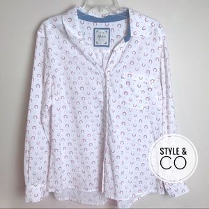 EUC Style & Co Horseshoe Button Down Cotton Large